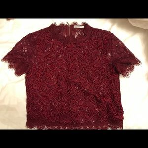 Wine red Zara lace top